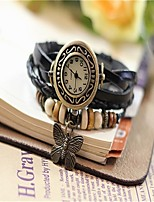 Жен. Модные часы Часы-браслет Кварцевый Кожа Группа Черный