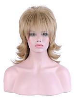 жен. Парики из искусственных волос Без шапочки-основы Средний Естественные волны Льняной Природные волосы Парик из натуральных волос