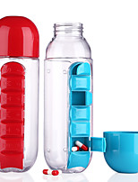 1PCS 600ML My Water Bottle Sports Combine Daily Pill Box Organizer Drinking Bottles for Water Plastic Leak-Proof Tumbler Ramdon Color