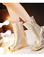 Для женщин Ботинки Удобная обувь Весна Лето Полиуретан Повседневные Золотой Серебряный 7 - 9,5 см