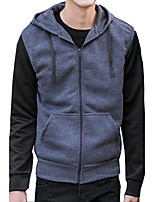 Men's Casual/Daily Simple Hoodie Solid Hooded Micro-elastic Cotton Acrylic Sleeveless Spring Fall