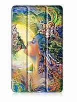 Padrão de pintura caixa de couro de três vezes com suporte para huawei medipad t3 7,0 polegadas tablet pc