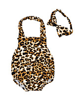 Baby Romper Leopard Print One-Pieces Cotton Summer Sleeveless Newborn Infant Girls Jumpsuits Bodysuits with Headband