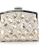 Women Bags Winter All Seasons Silk Clutch with Rhinestone Pleated Chain for Wedding Event/Party Casual Formal Office & Career White
