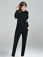 YIYEXINXIANGWomen's Going out Casual/Daily Simple Fall T-shirt Pant SuitsEmbroidered Round Neck Long Sleeve Micro-elastic
