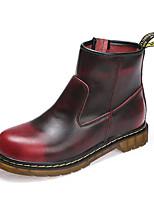 Для женщин Ботинки Удобная обувь Армейские ботинки Кожа Осень Зима Повседневные Молнии На плоской подошве Черный Коричневый КрасныйНа