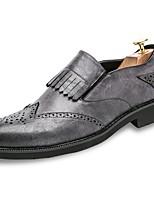 Для мужчин обувь Полиуретан Весна Осень Удобная обувь Туфли на шнуровке С кисточками Назначение Повседневные Черный Серый Коричневый