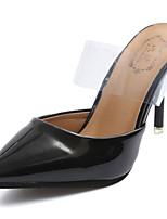 Women's Slippers & Flip-Flops Comfort Summer Patent Leather Walking Shoes Casual Stiletto Heel Black Beige Ruby 3in-3 3/4in