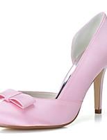 Для женщин Свадебная обувь Формальная обувь Весна Лето Сатин Свадьба Для вечеринки / ужина Бант На шпильке Белый Розовый 7 - 9,5 см