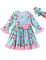 Girl's Floral Dress,Cotton Polyester Spring Fall Long Sleeve