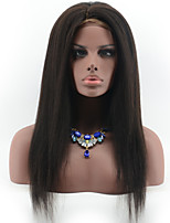 Brazilian Virgin Hair Italian Yaki Straight Glueless Lace Front Human Hair Wigs for Black Women Natural Black Color Lace Wigs With Baby Hair