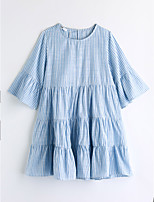 Girl's Casual/Daily Striped Dress,Cotton Summer Short Sleeve