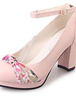 Для женщин Обувь на каблуках Удобная обувь Полиуретан Лето Повседневные Цветы На толстом каблуке Бежевый Розовый 2,5 - 4,5 см