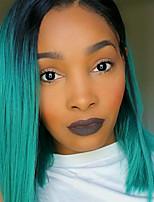 Парики из искусственных волос Без шапочки-основы Средний Прямые Зеленый Стрижка боб Парик из натуральных волос Карнавальные парики