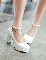 Women's Shoes Nubuck leather PU Spring Fall Comfort Heels For Casual White Green Light Pink