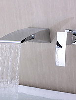 Contemporary Modern Design Waterfall Wall Mount with  Single Handle Double Holes Chrome Finish  Bathroom Basin Sink Faucet