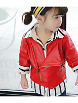 Girls' Solid Striped Jacket & Coat,PU Spring Long Sleeve