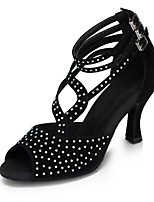 Women's Latin Silk Sandals Performance Crystals/Rhinestones Cuban Heel Black 2