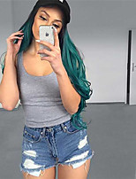 High Quality Middle Long Wave Ombre Black To Dark Green Color Wigs Fashion Sexy Women Wigs Natural Hair Synthetic Wigs