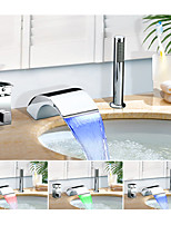 Color Changing Widespread Waterfall Multi-shade with  Ceramic Valve Single Handle Three Holes for  Chrome , Bathtub Faucet