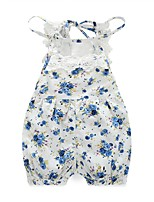 Baby Floral Print Lace One-Pieces,100%Cotton Spring Summer Sleeveless