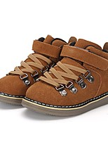 Boys' Boots Walking Comfort Combat Boots Leather Winter Casual Outdoor Rivet Gore Magic Tape Braided Strap Flat Heel Camel Gray Flat