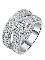 Women's Ring  Luxury Elegant Double-layer Silver AAA Cubic Zirconia Ring Jewelry For Wedding Anniversary Party/Evening