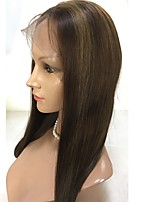 жен. Парики из натуральных волос на кружевной основе Натуральные волосы Полностью ленточные 130% плотность Парик Клубничный блондин