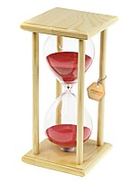POSCN 60 Minutes Durable Glass  Hourglasses Crude Wood Sand Timer for Time Management LP9007-0006 20cm x 10cm