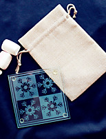 Christmas Snowflakes Glass Coaster -1pcs/bag - in Burlap Bag DIY Party Favors Beter Gifts® Life Style