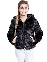 Women's Going out Casual/Daily Simple Fall Winter Jacket,Solid Hooded Long Sleeve Short Faux Fur Acrylic