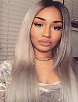 Top Quality Ombre T1B/Grey Glueless Lace Front Wigs With Baby Hair 100% Brazilian Virgin Hair Wigs for Black Woman