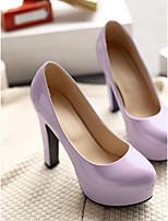 Для женщин Обувь Полиуретан Весна Удобная обувь Обувь на каблуках На шпильке Круглый носок Назначение Повседневные Черный Светло-лиловый