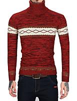 Для мужчин На каждый день Офис Винтаж Простое Обычный Пуловер Полоски Контрастных цветов,Хомут Длинный рукав Шерсть Искусственный мех