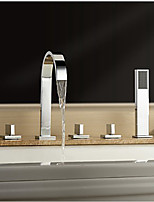 Contemporary Widespread Waterfall Handshower Included with  Three Handles Five Holes for  Chrome  Bathroom Bathtub Faucet