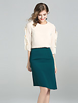 YIYEXINXIANGWomen's Casual/Daily Simple Fall Blouse Skirt SuitsSolid Round Neck  Sleeve Inelastic