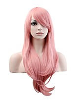 Women Synthetic Wig Capless Long Natural Wave Pink Natural Wig Costume Wigs