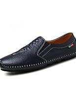 Hombre Zapatos de taco bajo y Slip-Ons Zapatos De Buceo PU Primavera Otoño Casual Tacón Plano Negro Naranja Azul Oscuro 5 - 7 cms