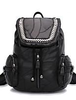 Women Backpack Cowhide All Seasons Casual Round Zipper Black