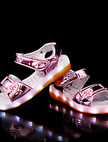 Girls' Sandals Light Soles Summer Synthetic Microfiber PU Casual Dress LED Hook & Loop Flat Heel Gold Black Sliver Blushing Pink Flat