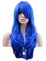 жен. Парики из искусственных волос Без шапочки-основы Длиный Естественные волны Тёмно-синий Парик из натуральных волос Карнавальные парики