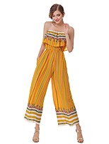 ANGELL Women's High Rise Going out Casual/Daily JumpsuitsBoho Street chic Wide Leg Print Summer Fall