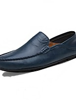 Men's Loafers & Slip-Ons Moccasin Light Soles Spring Fall PU Casual Ruched Flat Heel Blue Brown Black Flat