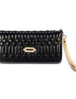 Women Checkbook Wallet PU All Seasons Shopping Daily Casual Formal Office & Career Cuboid Zipper Khaki Ruby Sky Blue Black