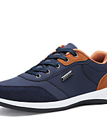 Men's Sneakers Comfort Spring Fall PU Casual Office & Career Lace-up Flat Heel White Gray Blue 3in-3 3/4in
