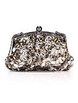 Women Bags All Seasons Polyester Evening Bag with Rhinestone Crystal for Wedding Event/Party Formal Gray