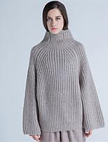 Для женщин На каждый день Простое Обычный Пуловер Однотонный,Хомут Длинный рукав Шерсть Полиэстер Осень Зима Средняя Слабоэластичная