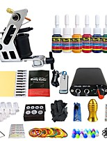 Complete Tattoo Kit  1 Machines Set 7 Color Inks Power Supply Footpedal Set TK105-43