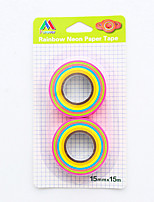 2 PC / set caramelo coloreó la cinta de papel del arco iris