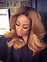 жен. Парики из натуральных волос на кружевной основе Натуральные волосы Лента спереди Бесклеевая кружевная лента 130% плотность Волнистые